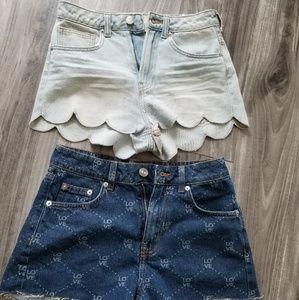 H&M shorts light blue and dark blue bundle jeans